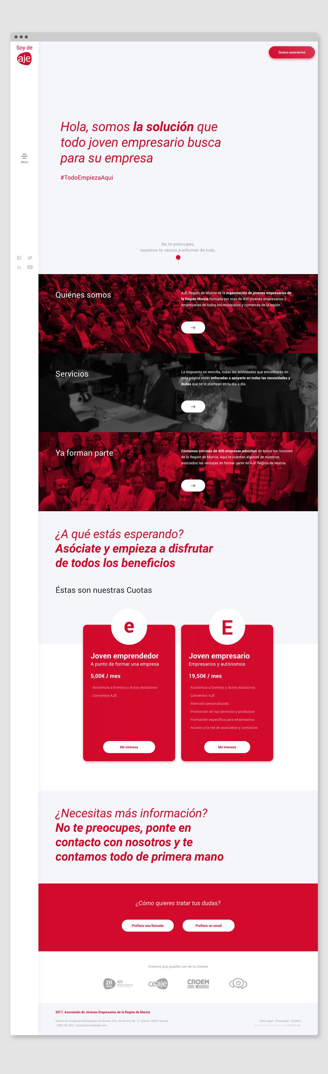 Diseño Full Width de Página web responsive de SOY DE AJE