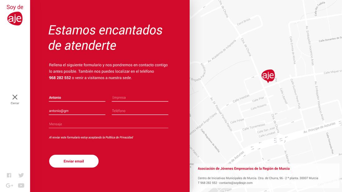 Página de contacto web responsive de SOY DE AJE