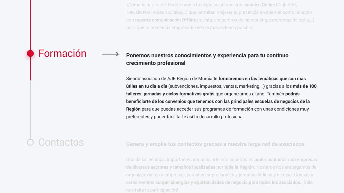 Página de formación web responsive de SOY DE AJE