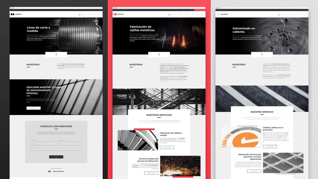 Landings web responsive de las 3 empresas de Grupo Relesa